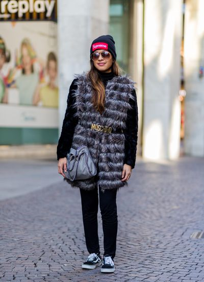 <p>Shirley Anne Bautista teams elegant faux fur with old-school sneakers and a skater hat.</p> <p>Image: Getty.</p>