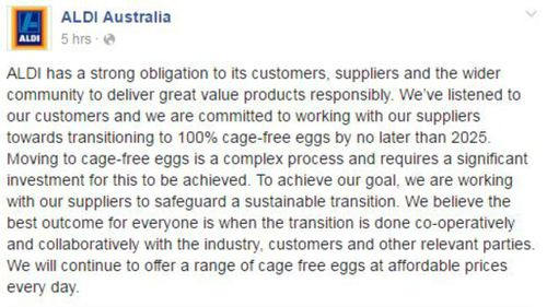ALDI Australian released a statement earlier today. (Facebook)
