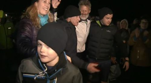 Donaldson's family surrounded him after his long-awaited arrival. Picture: 9NEWS