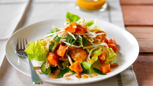 Red papaya salad with pan fried haloumi by Papaya Australia
