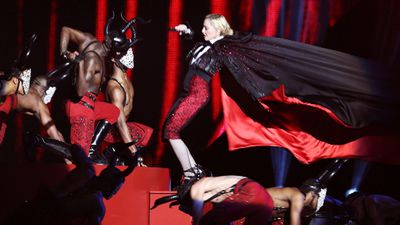 The Queen of Pop was almost de-throned at today's Brit Awards when she failed to undo a cape tied around her neck before one of her dancers tried to rip it away.<br><br>It resulted in Madonna taking a backwards tumble down some stairs before she dusted herself off and kept singing.<br><br>Click through the gallery to see some of the most jaw-dropping awards show moments.