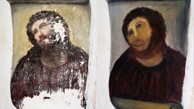 "The world's attention was drawn to a small church near Zaragoza in Spain in August 2012 after 80-year-old Cecilia Jimenez carried out a DIY ""restoration"" of Elijah Garcia Martinez's 120-year-old fresco of Jesus, entitled Ecce Homo (Behold The Man). But there was a further twist in the tale after Ms Gimenez sued the church for royalties after her botched repair efforts drew tens of thousands of ""pilgrims"" for a personal viewing. (AAP)"