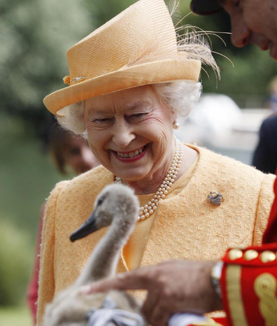 The Queen at the annual Swan Upping event in 2009 smiling at a baby bird.