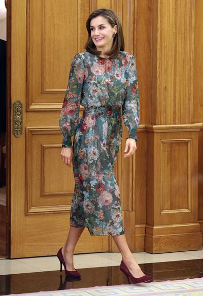 Queen Letizia in a Zara dress at Zarzuela Palace on in Madrid in October, 2017
