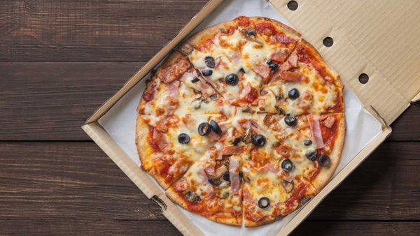 Pizza in takeaway box generic stock image