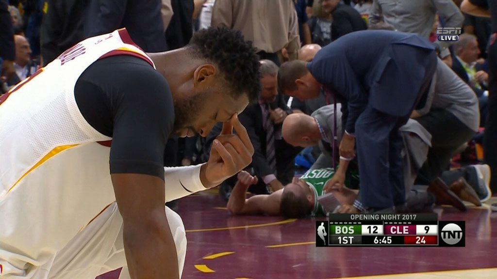 Gruesome break in NBA opener