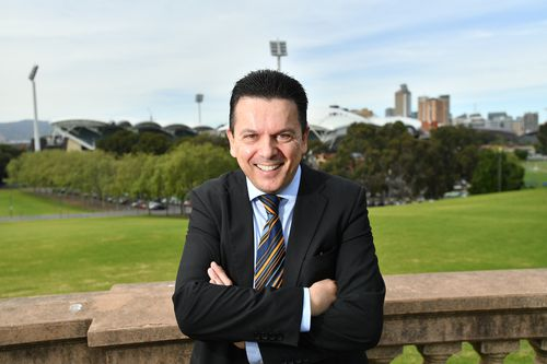 Nick Xenophon at the announcement of his return to state politics today. (AAP)