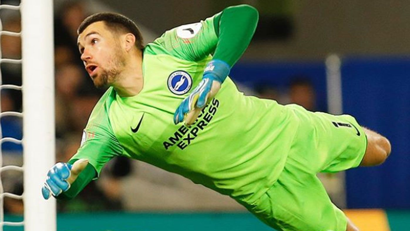 Mat Ryan makes a save for Brighton & Hove Albion on the EPL