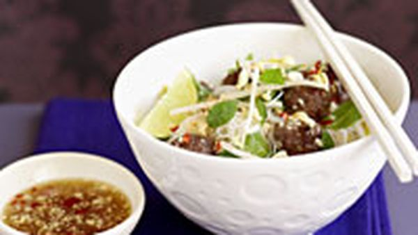 Grilled meatballs with vermicelli