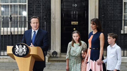 David Cameron was joined by his family before formally resigning (AAP)