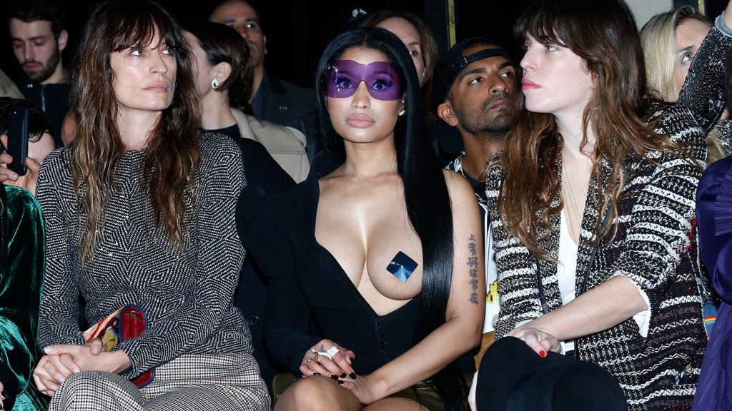 Nicki Minaj front row at Haider Ackermann at Paris Fashion Week. Image: Getty