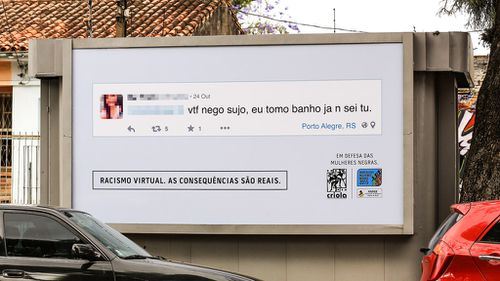 Brazilian group showcases online racism with confronting billboards