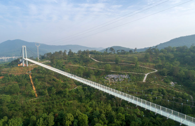 Aerial view of a glass-bottomed skywalk on May 21, 2020 in Xiangyang, Hubei Province of China.