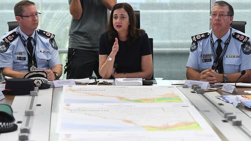Queensland Premier Annastacia Palaszczuk has also been briefed on the disaster situation unfolding as major floodwaters ease (AAP).