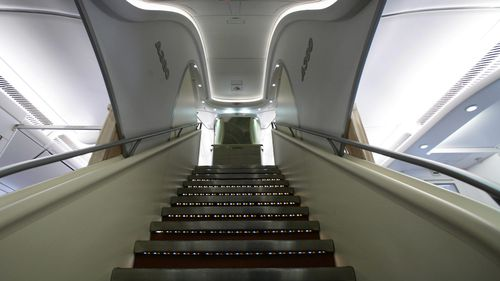 The interior stairs of an Airbus A380.
