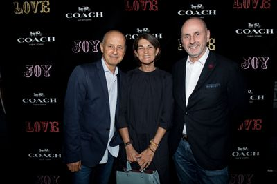 Gary Hendler, Sharon Hendler, Ian Bickey at the Coach launch, Sydney.