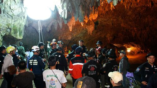 The vast cave has flooded with at least five metres of water. (AAP)