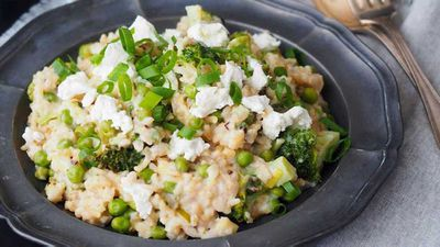 "Recipe:&nbsp;<a href=""http://kitchen.nine.com.au/2016/08/31/14/46/goats-cheese-and-asparagus-risotto"" target=""_top"">Goat's cheese and asparagus risotto</a>"