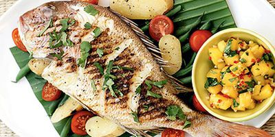 "Recipe:&nbsp;<a href=""http://kitchen.nine.com.au/2016/05/19/12/51/snapper-with-mango-salsa"" target=""_top"">Snapper with mango salsa<br /> </a>"