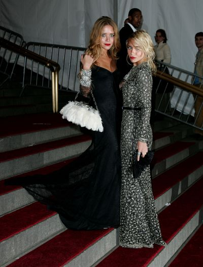 Mary-Kate  and Ashley Olsen at the Costume Institute Gala at The Metropolitan Museum of Art in New York, May, 2006, both wearing custom-made Badgley Mischka