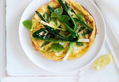 Char-grilled leek, chèvre and mint omelettes