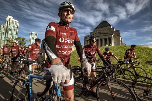 Former PM Tony Abbott yesterday starting the Pollie Pedal Bike Ride at the Shrine of Remembrance in Melbourne. Picture: AAP