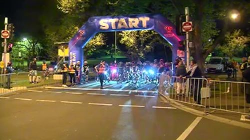The start line for Around The Bay this morning. (9NEWS)