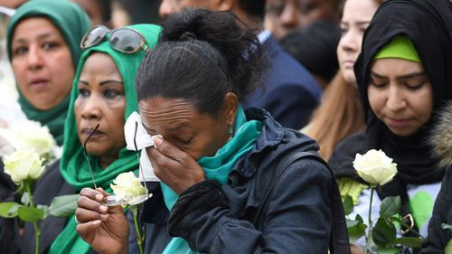 The families and friends of the victims at the commemorations.  Picture: Getty