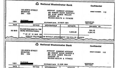 Extracts from the fake bank statements used to gain Diana's trust