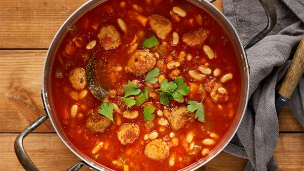 Cassoulet style sausage and bean soup