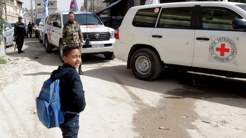 Aid convoys have reached the outskirts of Eastern Ghouta, Syria. (AAP)