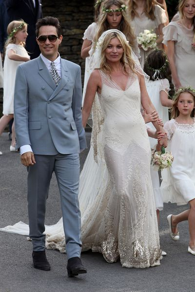 """<p>Kate Moss and Jamie Hince, 2011</p> <p>Dress: John Galliano</p> <p>""""It was very undercover,"""" Galliano told the Vogue Festival in London in 2015. """"There were about 20 dresses. [She's] an incredible person and an amazing friend. I can't imagine any other bride who'd ask someone who'd just come out of rehab to do her dress!""""</p> <p>Galliano credits the dress with keeping him on track during the dark period following his dismissal from Dior.</p>"""