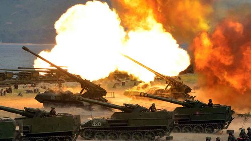North Korean artillery. (AAP)