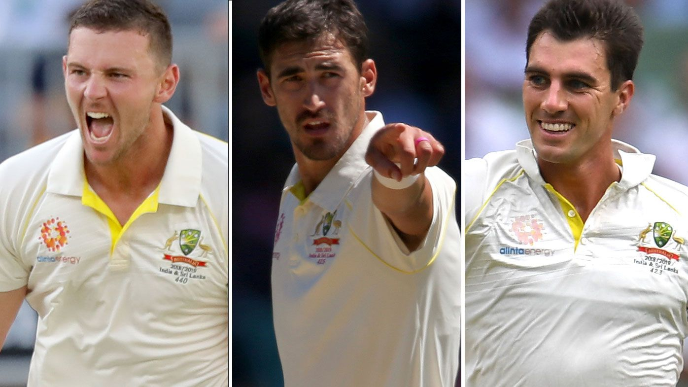 Josh Hazlewood, Mitchell Starc and Pat Cummins