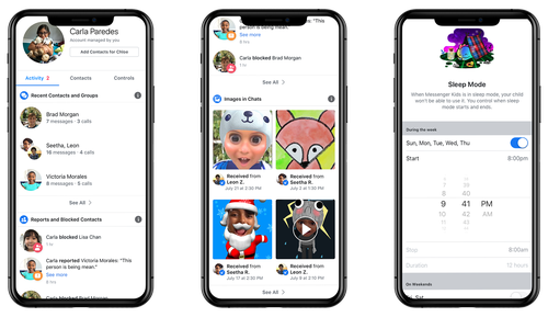 This is the Parents Dash of the Facebook Messenger app for kids.