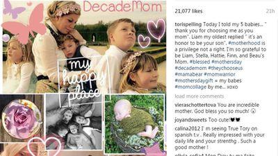 Tori, Dean and their kids - Liam,10, Stella, eight, Hattie, five, and Finn, four, plus tiny baby Beau.