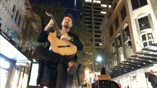 Sydney busker theft teen charged live stream video Pitt Street Mall crime news NSW Australia