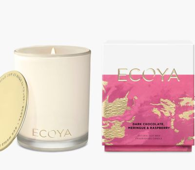 """<a href=""""https://www.ecoya.com.au/collections/candles/products/copy-of-dark-chocolate-merignue-raspberry"""" target=""""_blank"""">Ecoya</a> dark chocolate, meringue and raspberry, $44.95."""