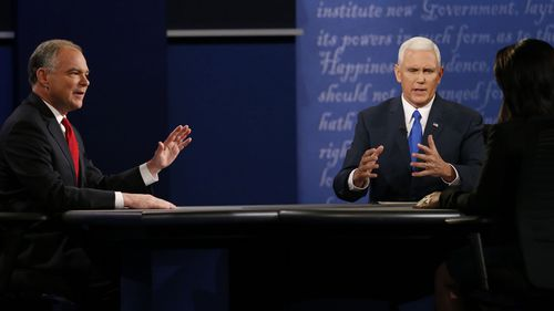 Tim Kaine, Mike Pence talk over each other in heated debate