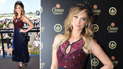 <p>Delta Goodrem showed off a black headpiece. </p> <p>(AAP)</p>