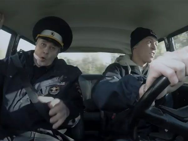 F1 racer Daniil Kvyat terrorises his instructor during his Russian driver's test. (Supplied)