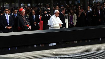 """On Friday, Pope Francis led a private memorial service at Ground Zero of the former World Trade Centre, the site of the September 11 terror attacks in 2001.<br><br>The pontiff met with the families of those who first responded to the attack and were killed in the attempt to help people.<br><br> Pope Francis met the families outside the memorial plaza near two commemorative waterfalls which he described as """"a symbol of our tears""""."""