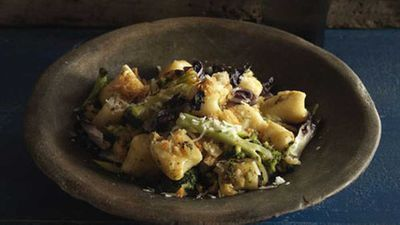 "Recipe:&nbsp;<a href=""/2016/05/17/09/59/potato-and-ricotta-gnocchi-with-broccoli-radicchio-and-pangrattato"" target=""_top"">Potato and ricotta gnocchi with broccoli, radicchio and pangrattato</a>"