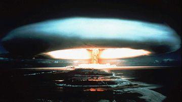 A mushroom cloud after an atomic bomb test on the Mururoa Atoll.
