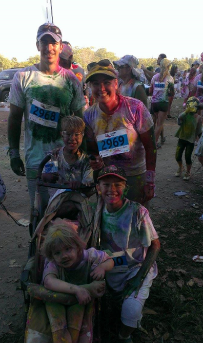 The family competing in the colour run.