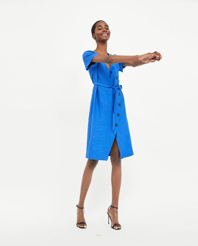"<a href=""https://www.zara.com/au/en/crossover-buttoned-dress-p07106048.html?v1=6031620&amp;v2=1010034"" target=""_blank"" draggable=""false"">Zara crossover dress</a>, $79.95"