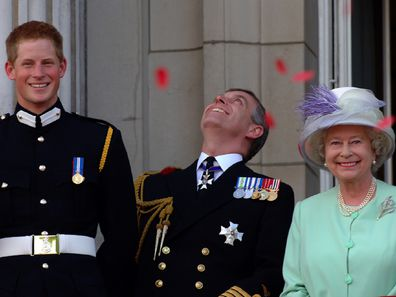 Queen Elizabeth with Harry and Andrew