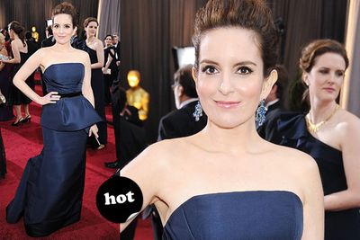 """She looks a little starchy, but hey, it's Tina Fey so <i>of course</i> she look awesome.<br/><br/>Spoiler alert! <a href=""""http://yourmovies.com.au/article/oscars2012/8425037/oscars-2012-moviefixs-live-results-blog"""">Head over to MovieFIX to find out who won...</a>"""