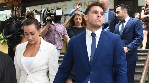 Canterbury Bankstown Bulldogs player Adam Elliott leaves after a first mention at Downing Centre Local Court in Sydney, Wednesday, October 24, 2018.