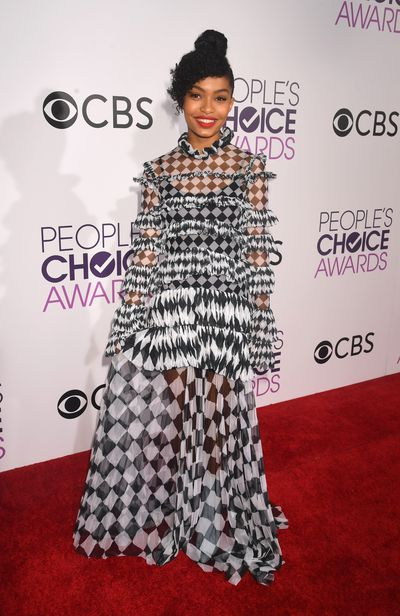 <p>Yara Shahidi in dress by Off White. Floaty, sheer, ruffled and just perfect.</p> <p>Image: Getty.</p>